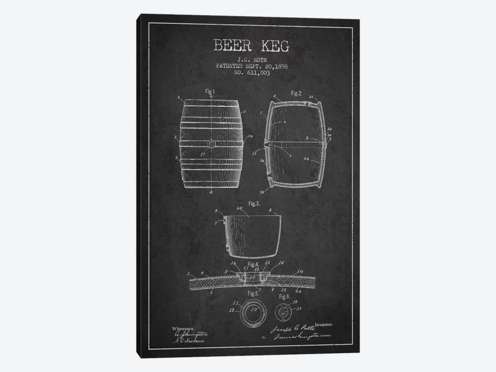 Keg Charcoal Patent Blueprint by Aged Pixel 1-piece Canvas Print