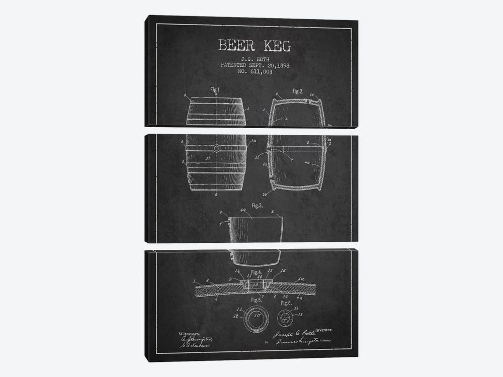 Keg Charcoal Patent Blueprint by Aged Pixel 3-piece Canvas Print