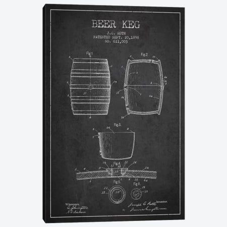 Keg Charcoal Patent Blueprint Canvas Print #ADP729} by Aged Pixel Canvas Art