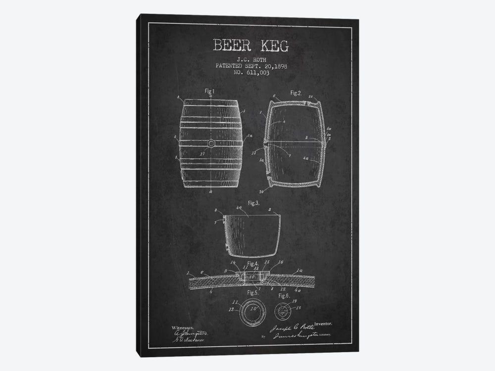 Keg Charcoal Patent Blueprint by Aged Pixel 1-piece Canvas Print
