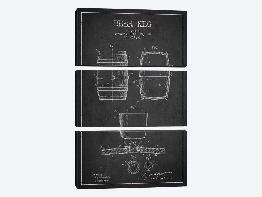 Keg Charcoal Patent Blueprint by Aged Pixel 3-piece Canvas Print