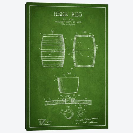 Keg Green Patent Blueprint Canvas Print #ADP730} by Aged Pixel Art Print