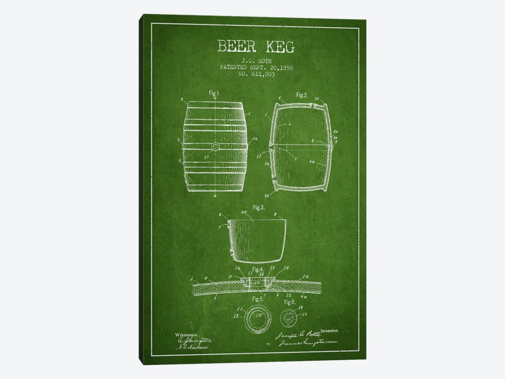 Keg Green Patent Blueprint by Aged Pixel 1-piece Canvas Print