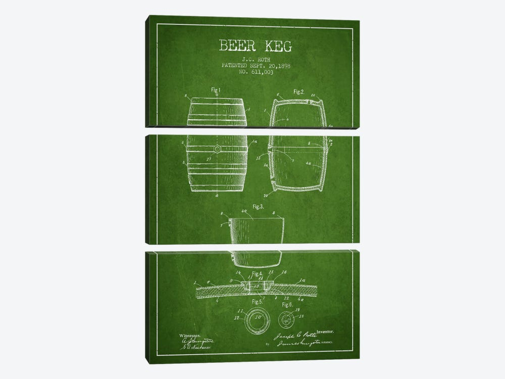 Keg Green Patent Blueprint by Aged Pixel 3-piece Canvas Art Print