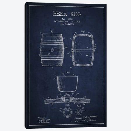 Keg Navy Blue Patent Blueprint Canvas Print #ADP731} by Aged Pixel Canvas Art Print