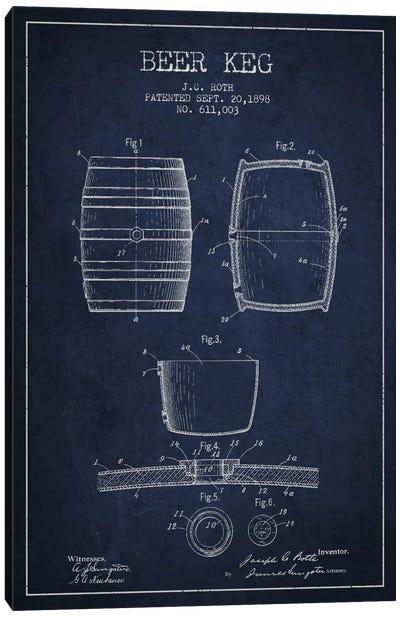 Keg Navy Blue Patent Blueprint Canvas Art Print