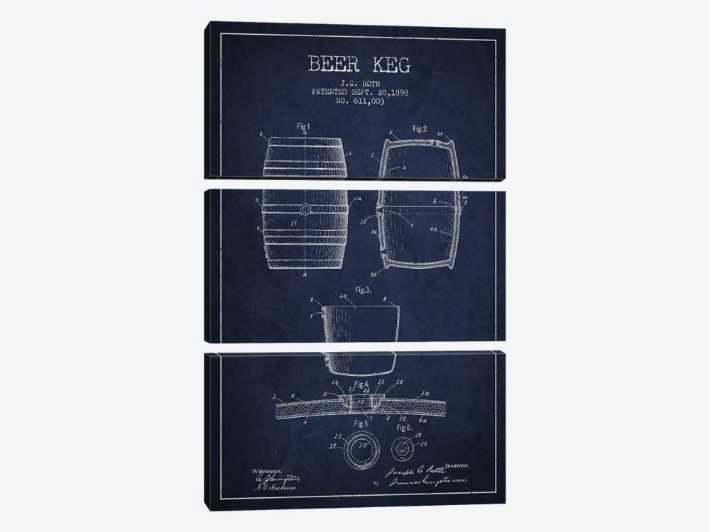 Keg Navy Blue Patent Blueprint by Aged Pixel 3-piece Canvas Art