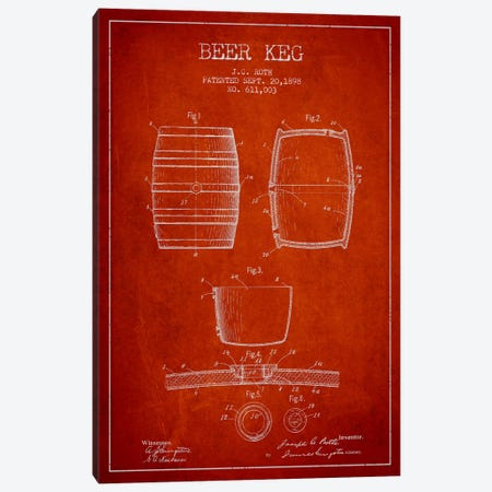 Keg Red Patent Blueprint Canvas Print #ADP732} by Aged Pixel Art Print