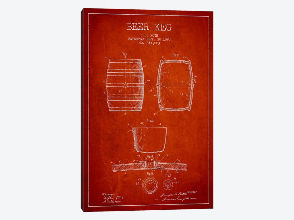 Keg Red Patent Blueprint by Aged Pixel 1-piece Canvas Art Print