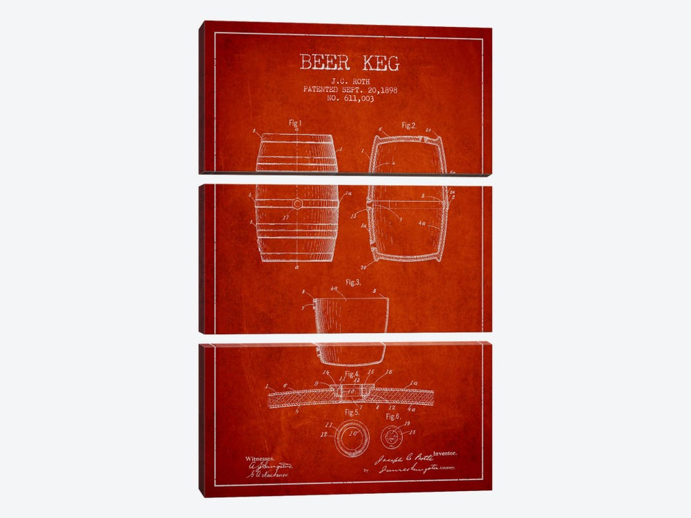 Keg Red Patent Blueprint by Aged Pixel 3-piece Canvas Print