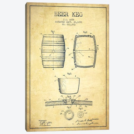 Keg Vintage Patent Blueprint Canvas Print #ADP733} by Aged Pixel Art Print