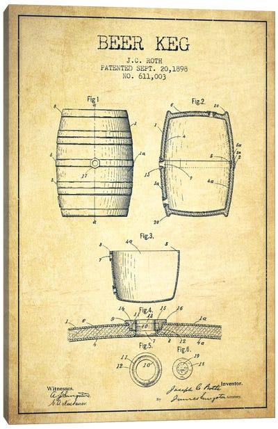 Keg Vintage Patent Blueprint Canvas Art Print