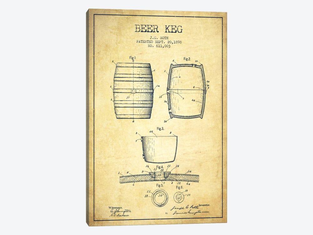 Keg Vintage Patent Blueprint by Aged Pixel 1-piece Canvas Art