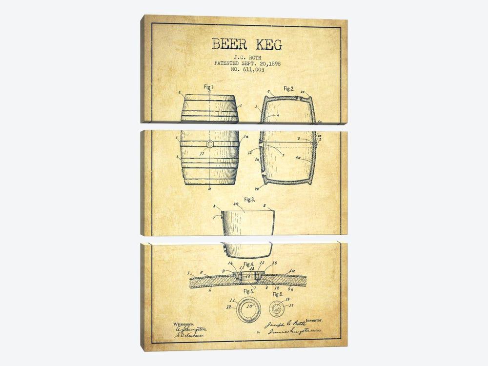 Keg Vintage Patent Blueprint by Aged Pixel 3-piece Canvas Wall Art