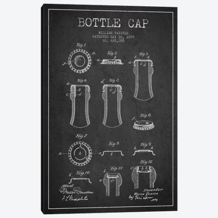 Bottle Cap Charcoal Patent Blueprint Canvas Print #ADP734} by Aged Pixel Canvas Artwork