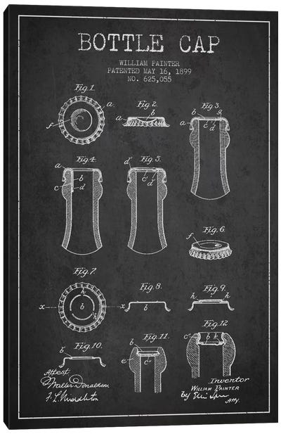 Bottle Cap Charcoal Patent Blueprint Canvas Art Print