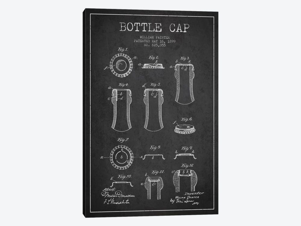 Bottle Cap Charcoal Patent Blueprint 1-piece Canvas Art Print