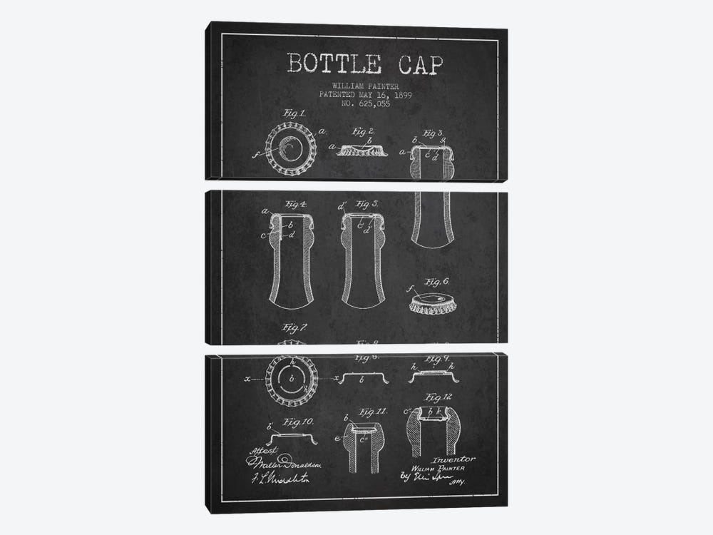 Bottle Cap Charcoal Patent Blueprint by Aged Pixel 3-piece Art Print
