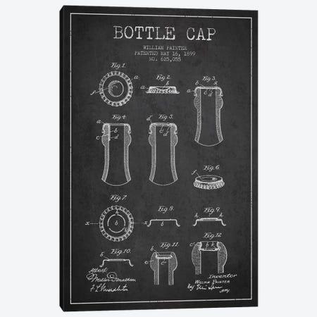 Bottle Cap Charcoal Patent Blueprint Canvas Print #ADP734} by Aged Pixel Canvas Artwork