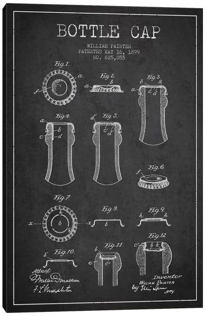 Bottle Cap Charcoal Patent Blueprint Canvas Art Print