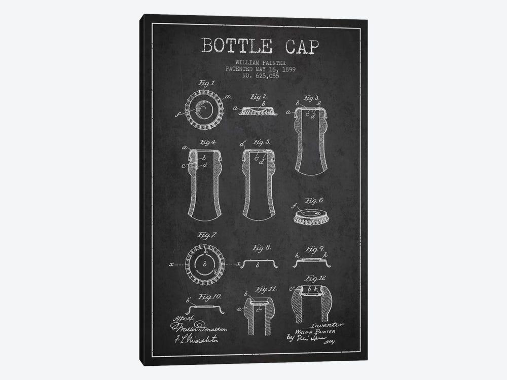 Bottle Cap Charcoal Patent Blueprint by Aged Pixel 1-piece Canvas Art Print