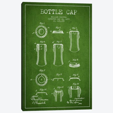 Bottle Cap Green Patent Blueprint Canvas Print #ADP735} by Aged Pixel Canvas Artwork