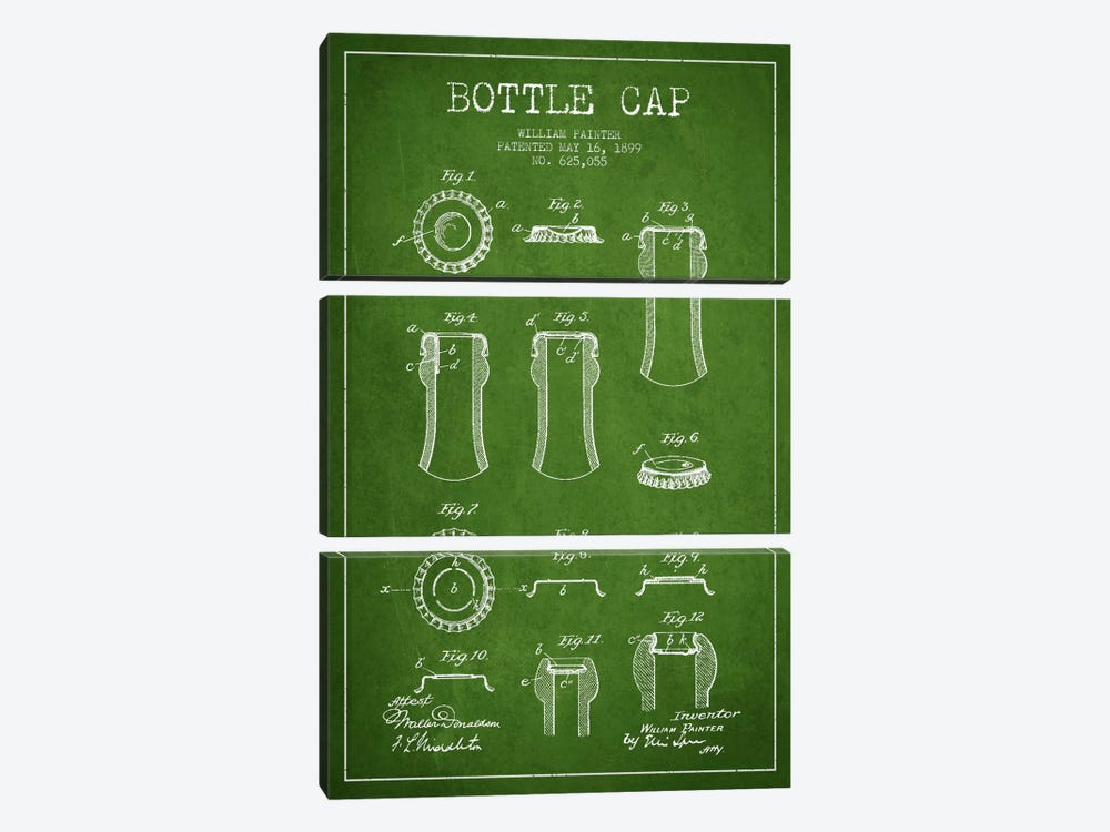 Bottle Cap Green Patent Blueprint by Aged Pixel 3-piece Canvas Wall Art