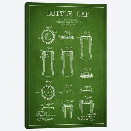 Bottle Cap Green Patent Blueprint Canvas Print #ADP735} by Aged Pixel Canvas Artwork