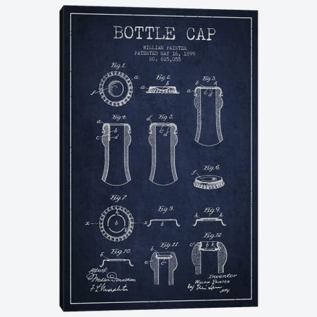 Bottle Cap Navy Blue Patent Blueprint Canvas Print #ADP736} by Aged Pixel Canvas Wall Art