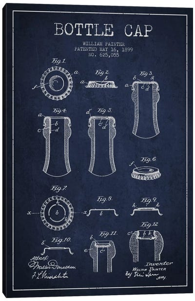 Bottle Cap Navy Blue Patent Blueprint Canvas Art Print