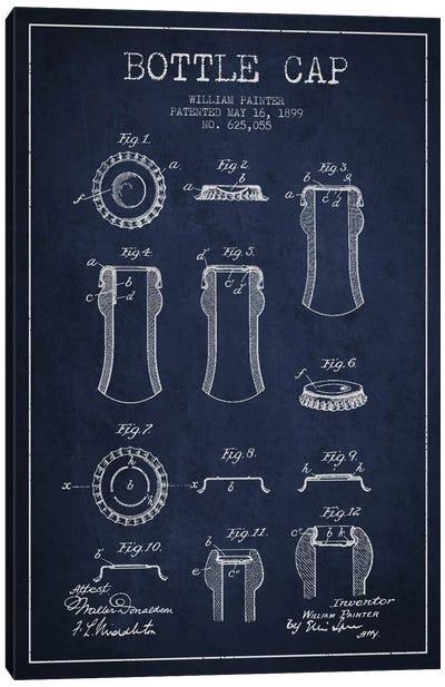 Bottle Cap Navy Blue Patent Blueprint Canvas Art Print
