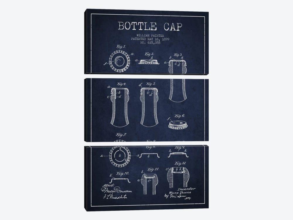Bottle Cap Navy Blue Patent Blueprint by Aged Pixel 3-piece Canvas Print