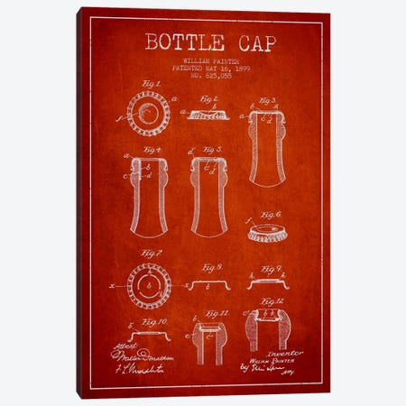 Bottle Cap Red Patent Blueprint Canvas Print #ADP737} by Aged Pixel Canvas Artwork