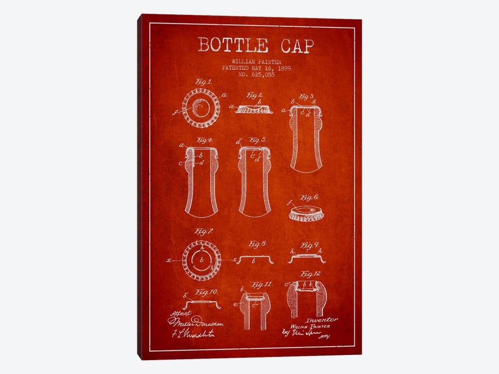 Bottle Cap Red Patent Blueprint by Aged Pixel 1-piece Canvas Art