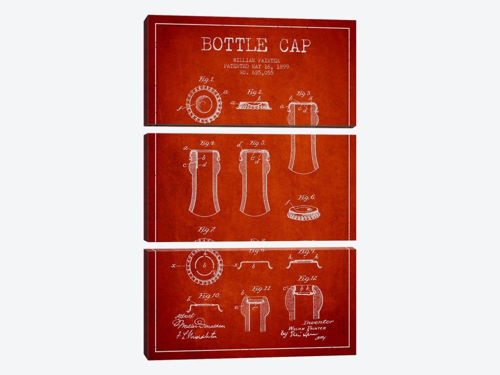 Bottle Cap Red Patent Blueprint by Aged Pixel 3-piece Canvas Art