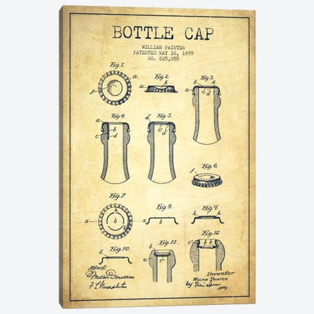 Bottle Cap Vintage Patent Blueprint Canvas Print #ADP738} by Aged Pixel Canvas Print
