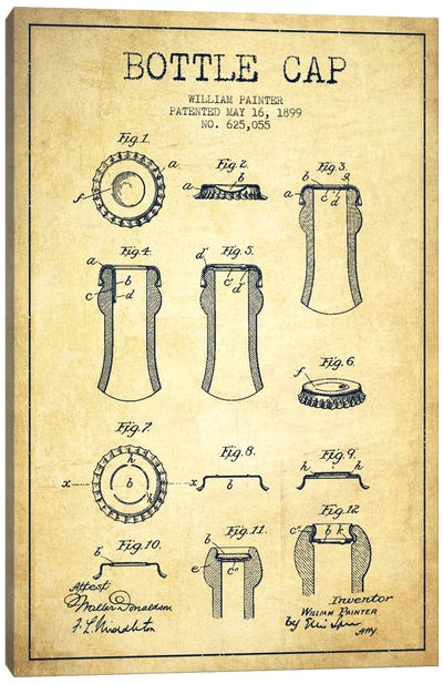Bottle Cap Vintage Patent Blueprint Canvas Art Print