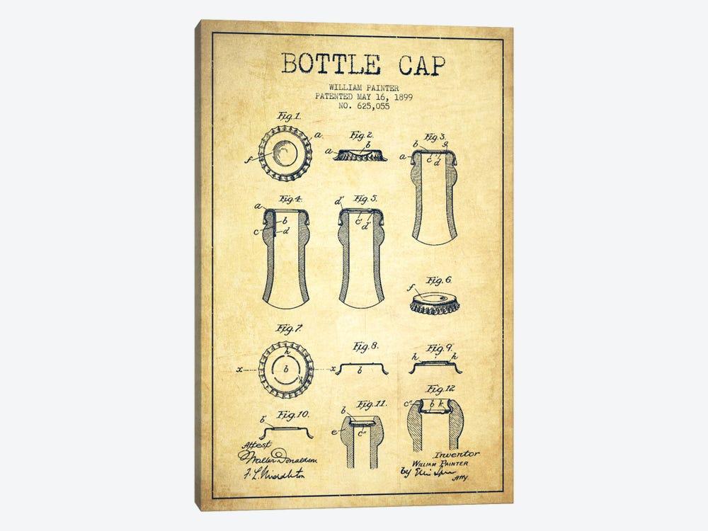 Bottle Cap Vintage Patent Blueprint by Aged Pixel 1-piece Art Print