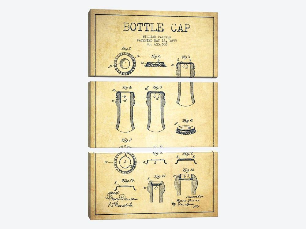 Bottle Cap Vintage Patent Blueprint by Aged Pixel 3-piece Canvas Art Print
