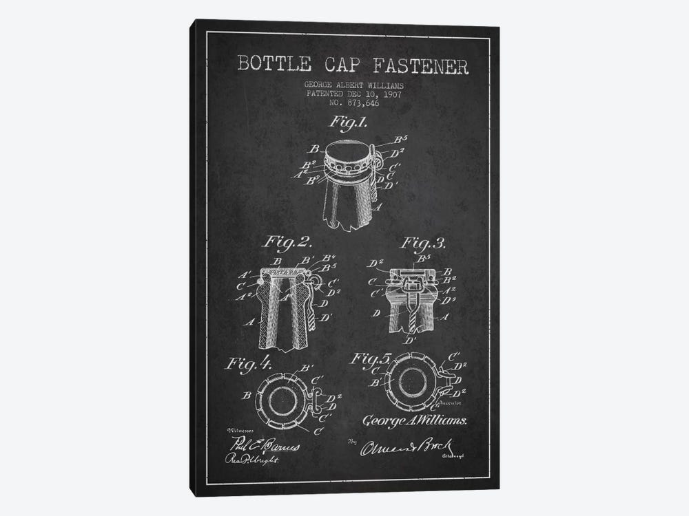 Cap Fastener Charcoal Patent Blueprint by Aged Pixel 1-piece Canvas Art