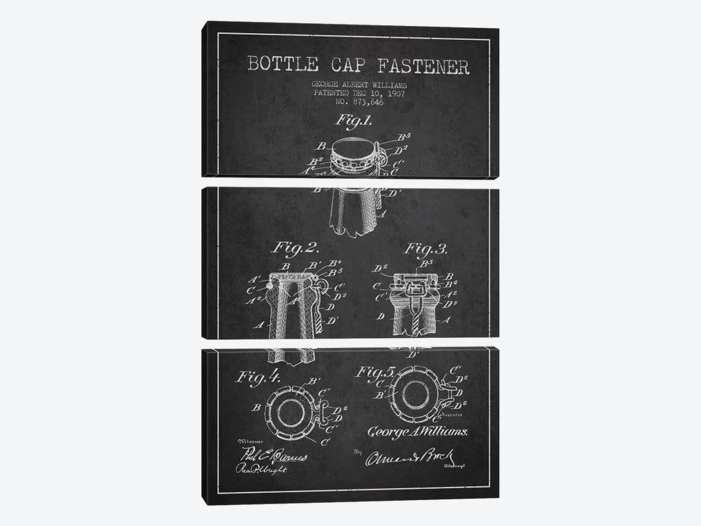 Cap Fastener Charcoal Patent Blueprint by Aged Pixel 3-piece Canvas Artwork