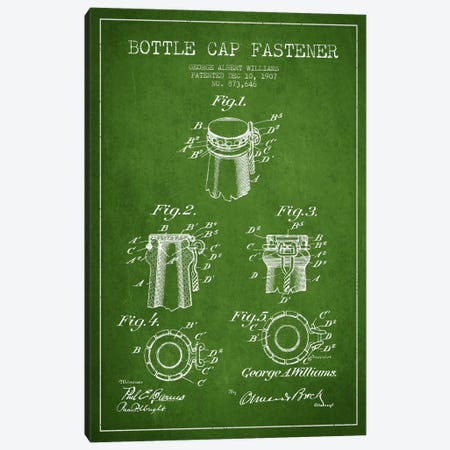 Cap Fastener Green Patent Blueprint Canvas Print #ADP740} by Aged Pixel Canvas Wall Art