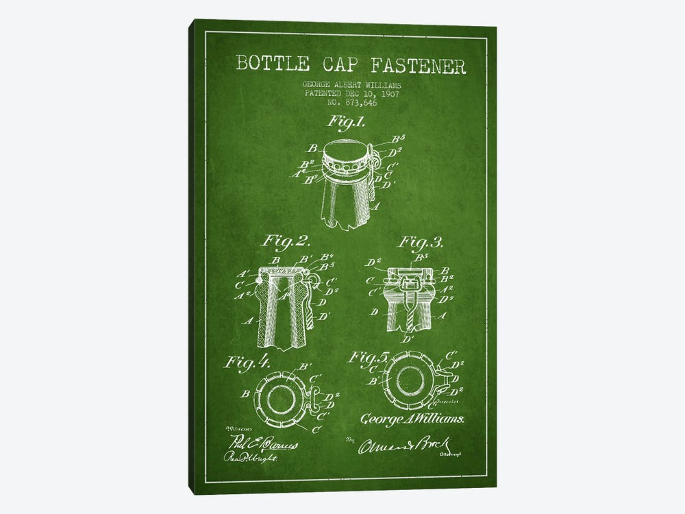 Cap Fastener Green Patent Blueprint by Aged Pixel 1-piece Canvas Art