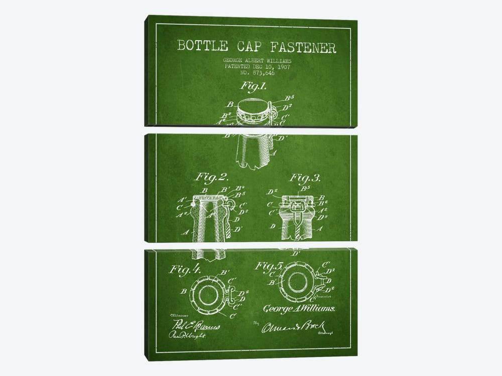 Cap Fastener Green Patent Blueprint by Aged Pixel 3-piece Canvas Art