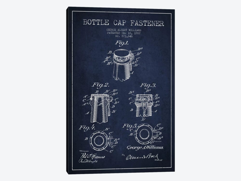 Cap Fastener Navy Blue Patent Blueprint by Aged Pixel 1-piece Art Print