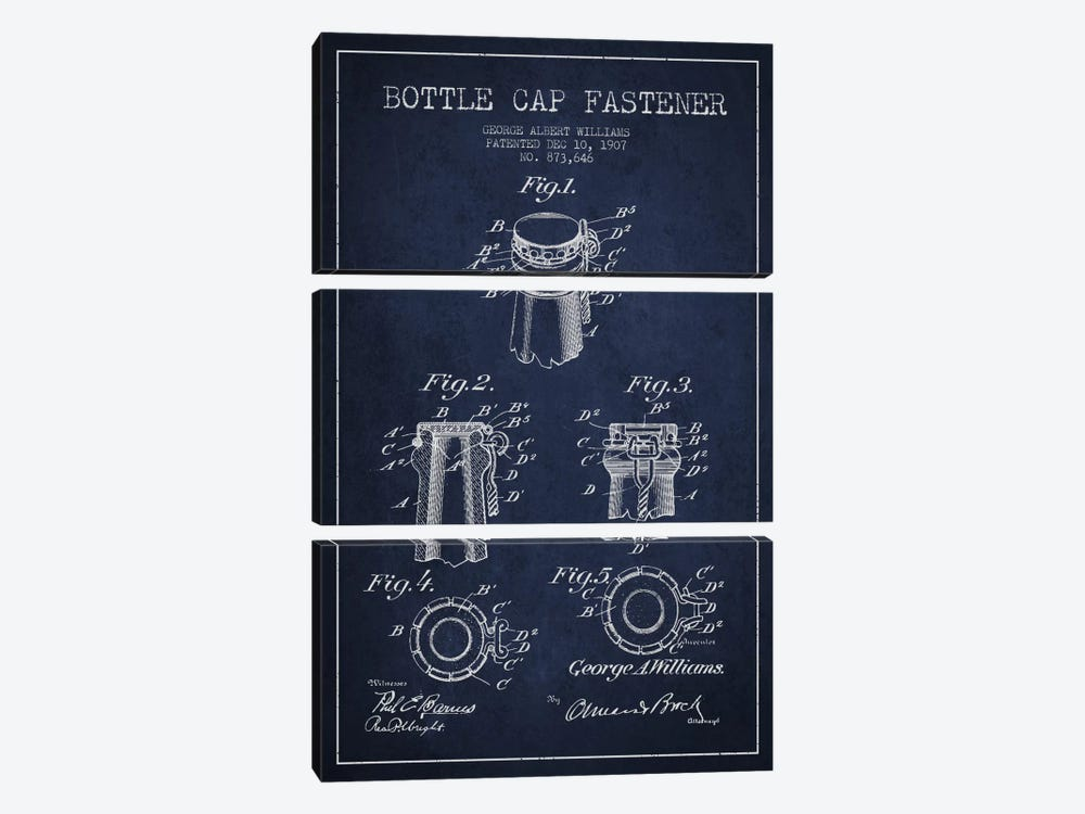 Cap Fastener Navy Blue Patent Blueprint by Aged Pixel 3-piece Art Print