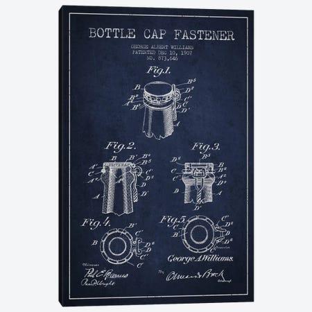 Cap Fastener Navy Blue Patent Blueprint Canvas Print #ADP741} by Aged Pixel Canvas Artwork