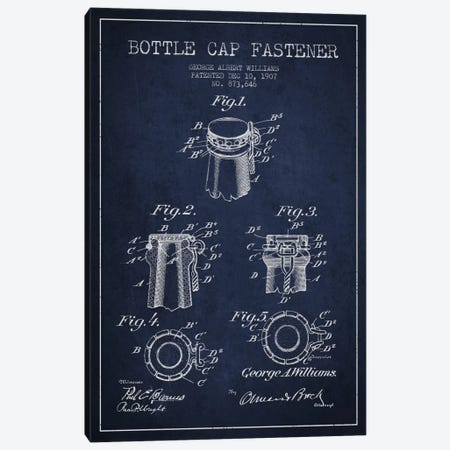 Cap Fastener Navy Blue Patent Blueprint Canvas Print #ADP741} by Aged Pixel Canvas Artwork