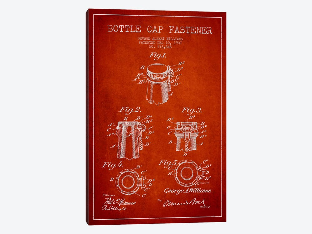 Cap Fastener Red Patent Blueprint by Aged Pixel 1-piece Canvas Wall Art