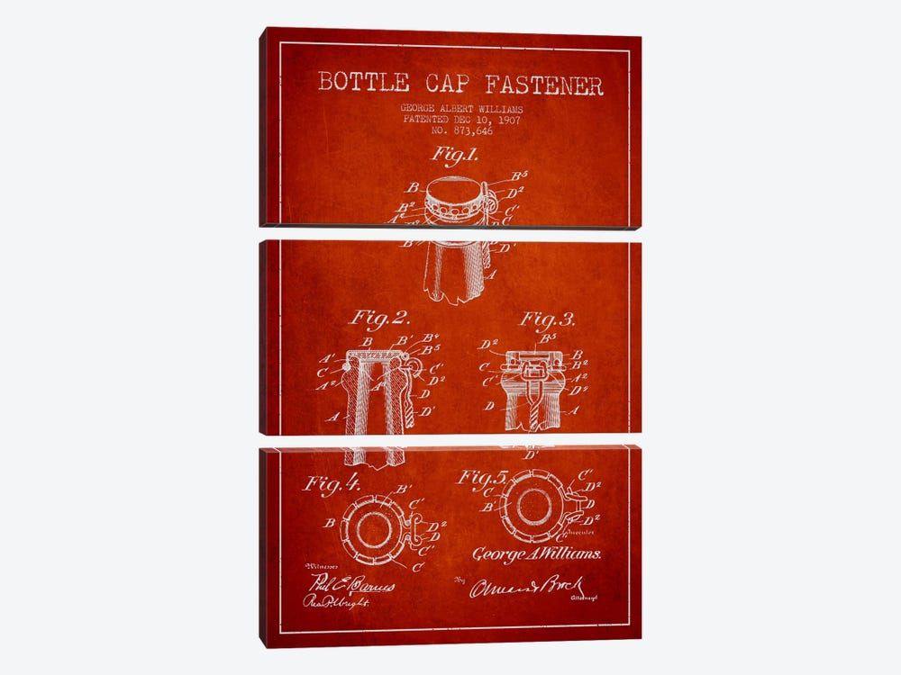 Cap Fastener Red Patent Blueprint by Aged Pixel 3-piece Canvas Artwork